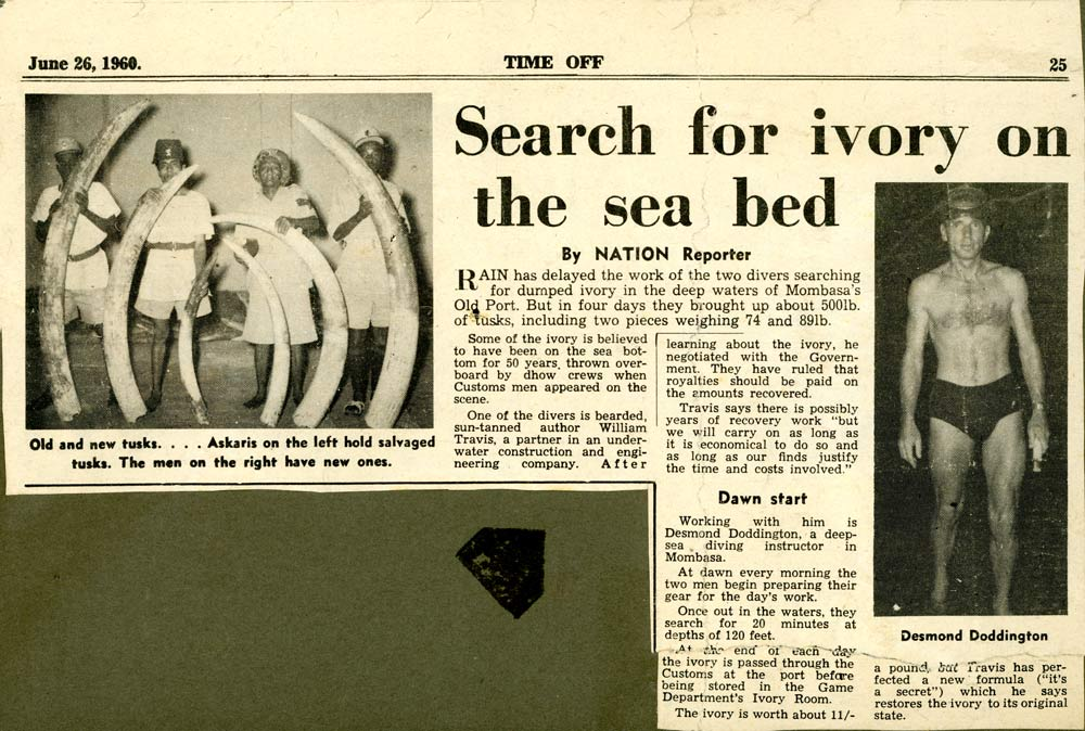An image of another newspaper cutting of how the ivory was found on the seabed off Fort Jesus, Mombasa