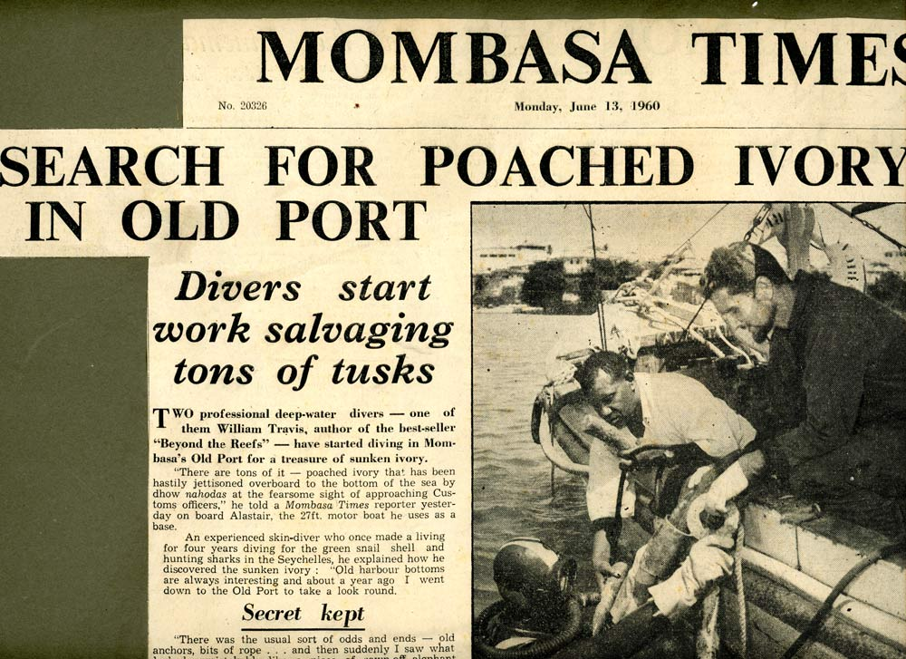 An image of another newspaper cutting describing how Bill Travis discovered ancient ivory off the coast from Fort Jesus, Mombasa