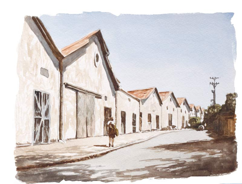 An image of a Paul Augustinus watercolour sketch of the warehouses where the Ivory Room was located in the 1960s. Done in 2010.