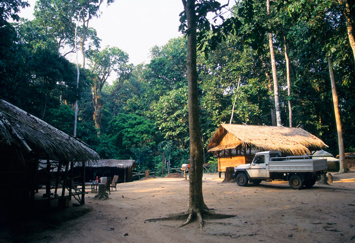 An image of a rustic encampment made of wooden buildings, in a rainforest clearing. A 4x4 vehicle is parhed next to one of the buildings.