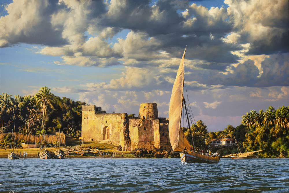 An image of a Paul Augustinus painting of a ruined Arabic fort on the tropical, palm fringed edge of a lagoon in Southern Tanzania.
