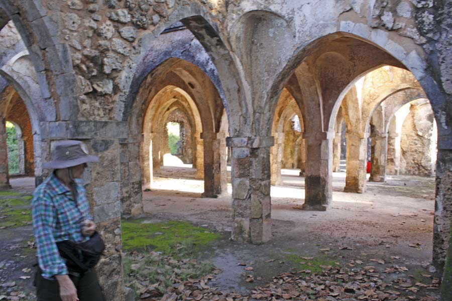 An image of Clarissa Augustinus inside the ancient ruined mosque at Kilwa. A vast complex of arches and pillars in the Arabic style.