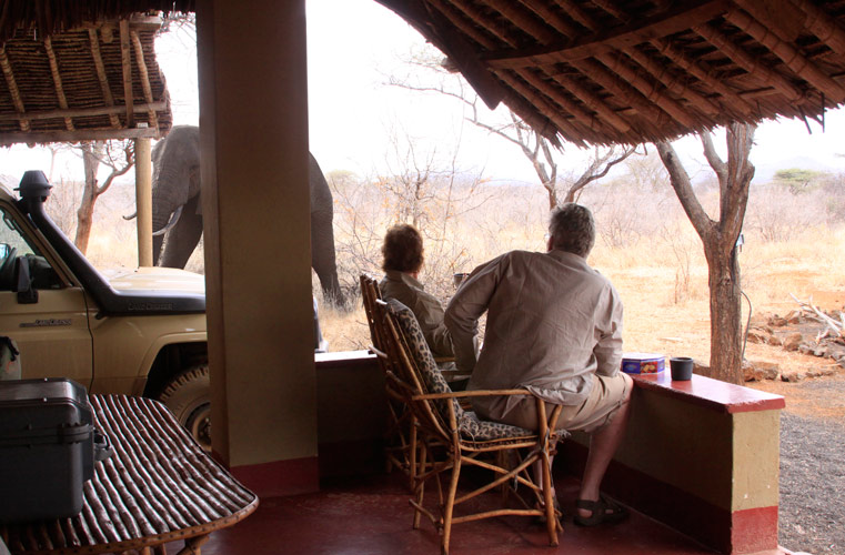 An image of  Paul and Clarissa Augustinus sitting on the veranda of a banda, with in the background an elephant wandering by a few feet beyond their Land Cruiser.