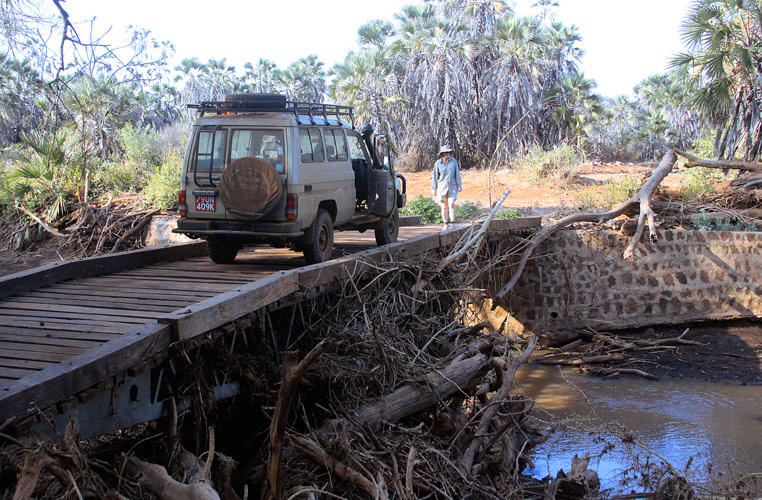 An image of Clarissa Augustinus standing next to a Land Cruiser vehicle which is parked on an old and rickety bridge of 1950s oreign that is almost clogged up with dead trees brought down in floodwaters.