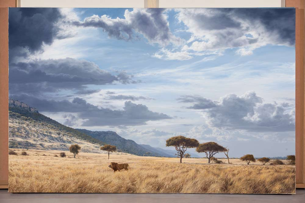 A Paul Augustinus painting of a grassy plain at the foot of a tall escarpment. A lion walks through the grass which shows signs of the passage of vast herds of wildebeeste.