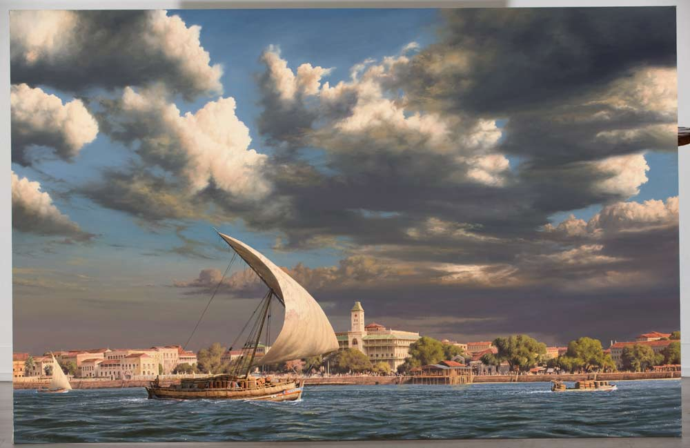 A Paul Augustinus painting of a dhow leaving Stone Town dhow harbour.