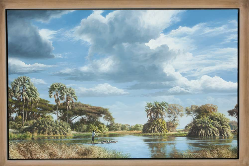 A Paul Augustinus painting of a scene from the Okavango swamps, with palm islands and a lone dugout making its way across a lagoon.